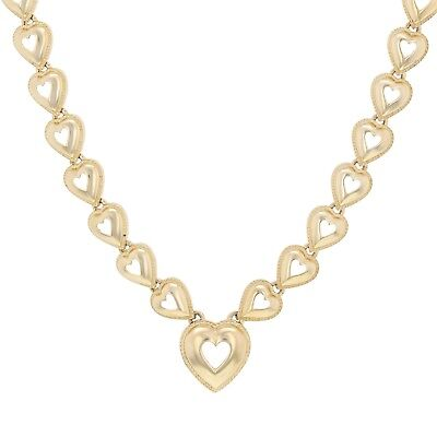 """14k Yellow Gold Open Heart Link Chain Necklace 16.5"""" 18.6 grams"""
