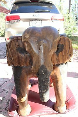 Huge Hand Carved Vintage Wooden Elephant Chair Jungle Theme Cabin Man Cave