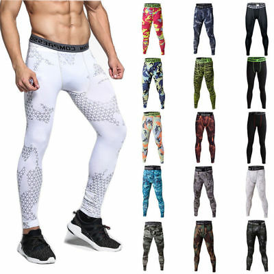 Mens Workout Compression Tights Apparel Gym Base Layer Running Long Pants
