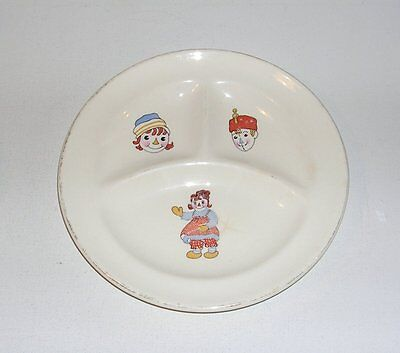 Vintage 1940's Raggedy Ann & Andy Dish, Divided Plate by Crooksville China, Ohio