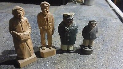 3 Vintage Hand Carved Wood Sailor Sea Ship Captain and 1 Wife....2 are signed