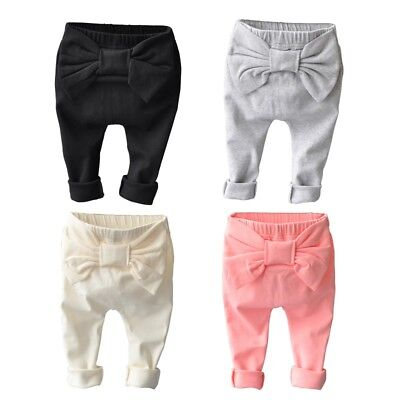 US Toddler Baby Boys Girls Bow-Knot Warmer PP PantsCotton Leggings Trousers 0-5Y