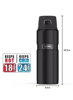 Genuine Thermos Brand Stainless Steel King 24 Ounce Drink Bottle Black BRAND NEW