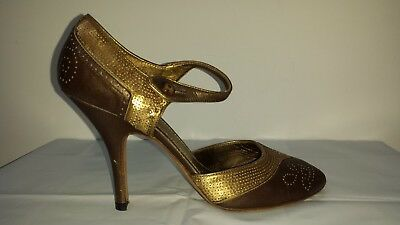 850a86dbe4d22 Auth Prada Bronze Leather Gold Sequins Peep Toe Heels Shoes Size 37.5 7