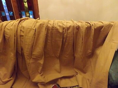 4 Large Vintage Gold  Silk BLEND Custom Pleated Hand Made Curtain Drapes