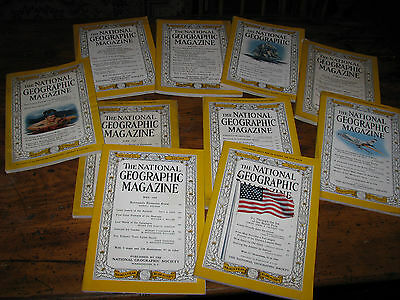 Group of Ten Vintage 1959 National Geographic Magazines