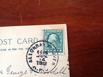 Antique Post Card with rare 1916 Washington 1 cent stamp - error on all 4 sides