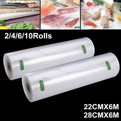 2-10 Rolls 22/28cm Vacuum Food Sealer Roll Bags Textured Storage Food Saver Bags