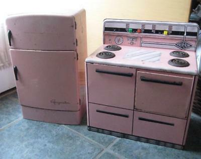 antique rare metal kitchen stove and refrigerator PINK