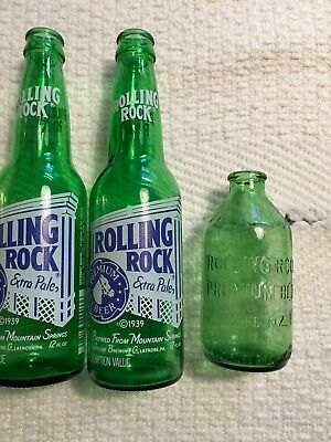 Three (3) Old Rolling Rock Beer Bottles Green-Colored Glass From Latrobe, Pa