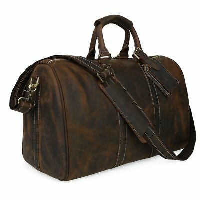 Vintage Men's Leather Overnight Travel Luggage Suitcases Duffle Gym Shoulder Bag