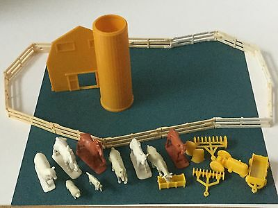 Vintage Farm Barn Play set Animals implements fence  some  MARX(?)