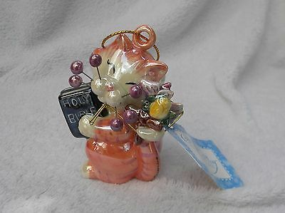 """WhimsiClay """"Trinity"""", colorful religious Cat Ornament"""