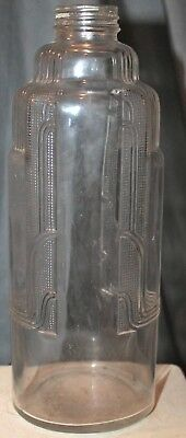 Antique 10 Inches Tall Art Deco Style Skyscraper Themed Clear Glass Bottle