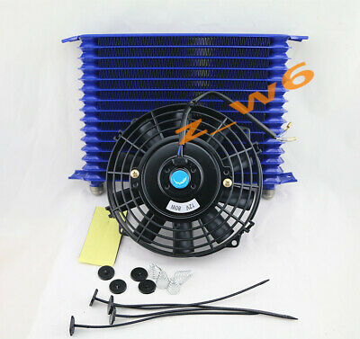 "15 Row Engine Trans Transmission 10AN Universal Oil Cooler + 8"" Electric Fan Kit"