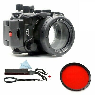 Meikon 40m Waterproof Underwater Camera Housing Case for Canon G7X w/ Red Filter