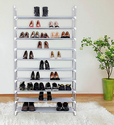 50 Pairs 10 Tier Shelf Portable Metal Pipes Shoe Rack Storage Organizer Stand