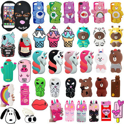 Cartoon Soft Silicone Case for iPhone XS Max XR X 6 7 8 Plus Cute 3D Characters