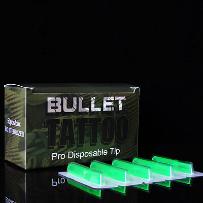 50Pcs Disposable Sterile Tattoo Tips Green Color RT Round FT Flat Shader Liner