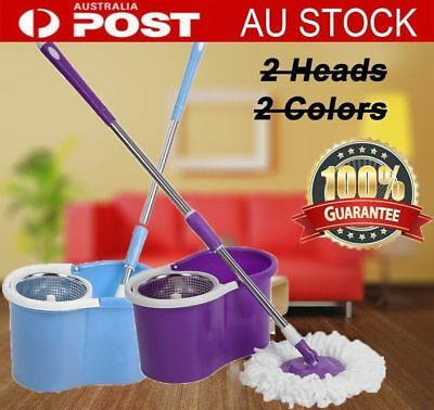 360° Spin Mop Stainless Steel Bucket 2 Free Microfibre Mop Head Cleaning Tools