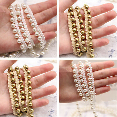 Vintage Pearl Beaded Lace Edge Trim Ribbon Wedding Applique DIY Sewing Craft