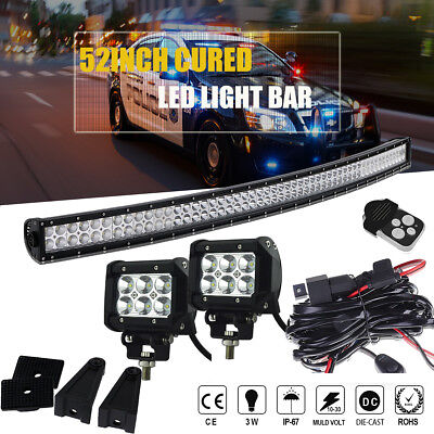 """Curved 54Inch LED Light Bar Combo+ 2X 4"""" Pods Cube+Wiring + Remote Toyota RAV"""