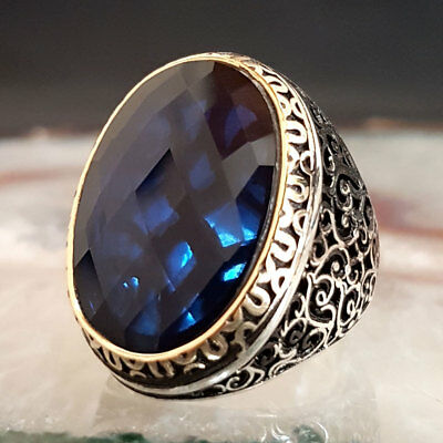 Sterling 925 Silver Mens Jewelry,Elegant Blue Sapphire Gemstone  Men's Ring