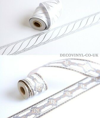 5M Art Deco Silver Border Decorative Self Adhesive Sticky Back Plastic Gold Wall