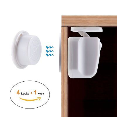 4Pcs Magnetic Cabinet Locks Child Proof Cupboards Drawers Invisible Baby Safety