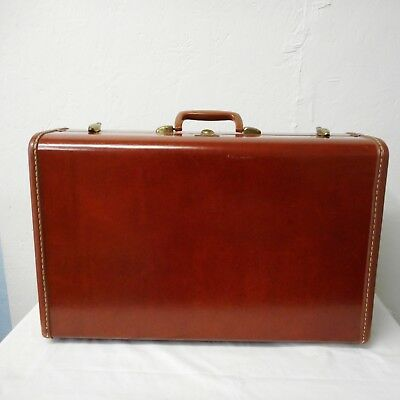 Vintage Samsonite Reddish Brown Suitcase Luggage Hardcase Mid Century Modern