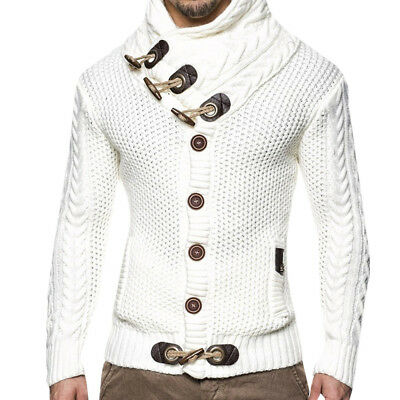 Men Cotton Knit Cardigan Sweater Cowl Neck Horn Button Single Breasted Outwear#