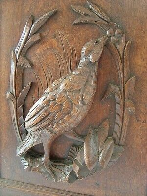Antique French Carved Door Game Bird Motif Porte Ancienne Sculptee Oiseau