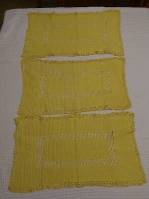 """Vintage Lot of 3 Yellow Vintage Table Scarves/Doily's ~ Placemats ~22""""x~13"""""""