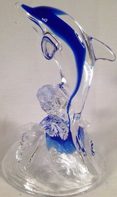Rare ~ Cristal d'Arques ~24% Lead Crystal Dolphin in Waves ~Blue Glass Figurine