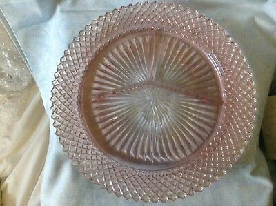 Vtg Anchor Hocking Miss America Pink Depression Glass Divided Grill Plate