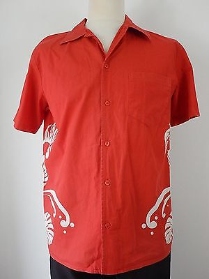 Vtg Mens Red White Floral Surfer Casual Short Sleeved Hawaiian Shirt Size Large