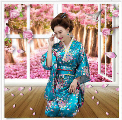 Vintage Kimono Costume Yukata Gown Japanese Floral Robe Haori Dress with Obi