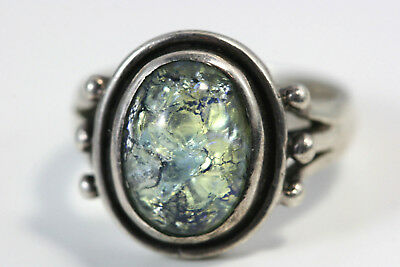 "D372 Irridescent Glass Stone 14mm 3/4""w Sterling 925 Ring size 9"