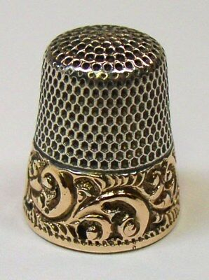 Antique Ketcham & McDougall 14K Gold Band Sterling Silver Thimble  Scrolls
