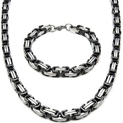 5mm x 60cm Set Byzantine King's Chain + Wristband Stainless Steel Silver Black