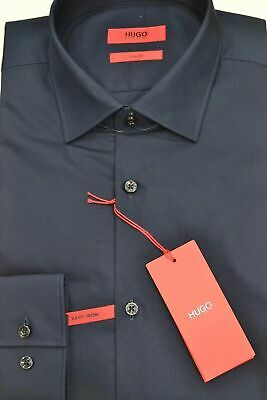 HUGO BOSS Camicia slim fit in cotone tinta unita BLU  'C-Jenno' by HUGO