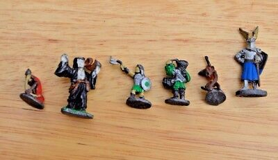 Lot of 6  Painted Vintage Ral Partha Fantasy Metal Figurines D&D Paladin Wizard