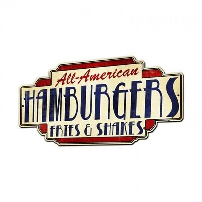 AMERICAN HAMBURGER Schild 71cm USA MC FOOD Donalds BAR DINER King Imbiss Theke