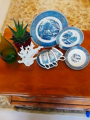 Currier & Ives Royal China ,  dinner, bread & butter, desert plates, coffee cups