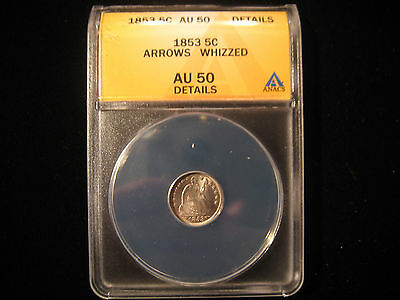 1853 Seated Half Dime With Arrows AU 50 Details Whizzed ANACS