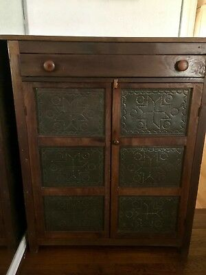 Antique Primitive Pie Safe Cupboard Punched Tin Panels Circa 19th Century