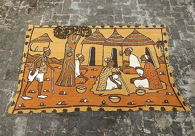 Large Vintage French Beautiful African Tribal Scene Tapestry 163x106cm (A824)