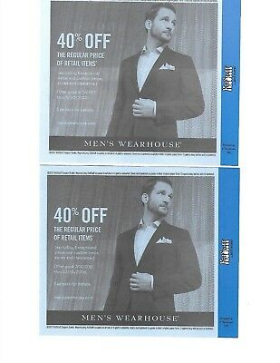 Men's Wearhouse (2) Coupons 40% off thru 2018
