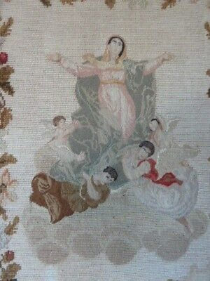 Delightful Late 19Th Century Needlepoint Tapestry Panel With Angels And Cherubs