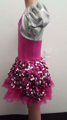 Dance Costume Medium Child Pink Metallic Jazz Tap Dress Solo Competition Pageant